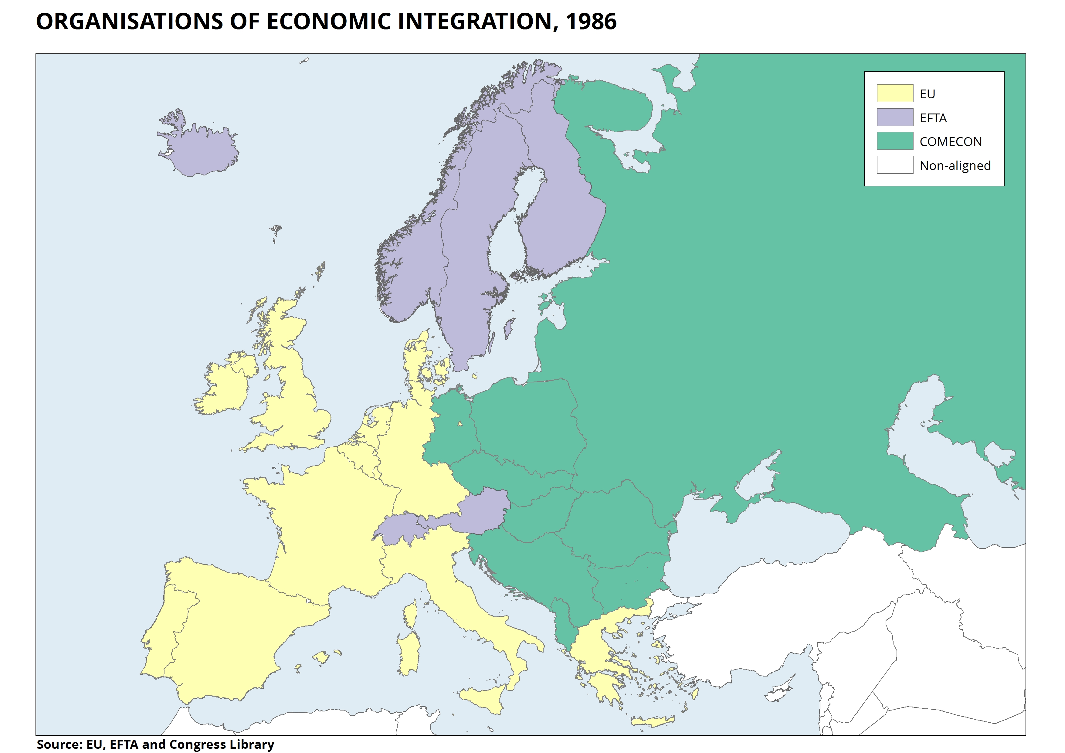 Maps the eu explained through maps 15 organisations of economic integration 1986 gumiabroncs Image collections